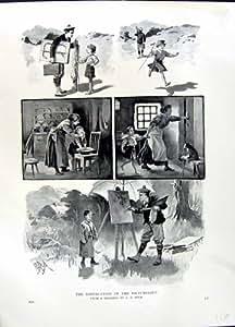 ARTISTE 1896 DE JOURNAL D'ART PEIGNANT DES MONTAGNES DE L'ECOSSE