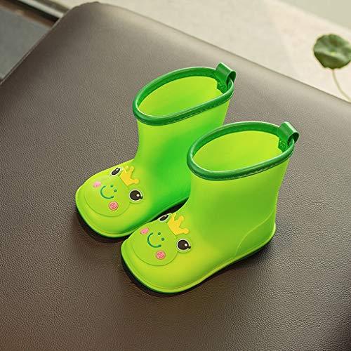 ZJOUJ Regenstiefel- Kinder Outdoor rutschfeste wasserdichte Gummi Regen Stiefel, Jungen und Mädchen Cartoon niedlichen Regen Stiefel (Farbe : Green, größe : 15.5cm) (Jungen Spiderman Regen Stiefel)