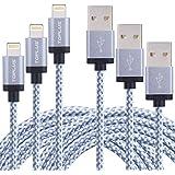 TOPLUS [3 Stück] 1m+2m+3m Lightning USB Kabel Ladekabel Datenkabel mit Aluminum Kopf für iPhone 6/6s/6 Plus/6s Plus/SE/5/5c/5s, iPad 4 Mini Air iPod Nano 7 iPod Touch 5 (Silberweiß)
