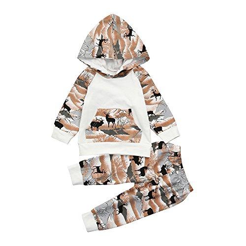 Hirolan Baby Strampler Neugeboren Babykleidung Säugling Baby Junge Mädchen Hirsch Pfeil Kapuzenpullover Lange Hülse Tops Täglich Hose Mode Outfits Kleider Set (80cm, Weiß 5)
