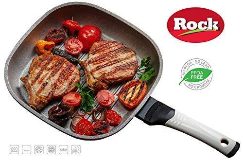 OURSSON ROCK Poêle Grill Céramique Ecologique, 27х27 cm   Convient pour Tous Les Fours de Cuisson : gaz, électrique, induction & céramique, Blanc, PF2753P/IV