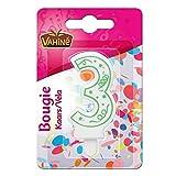 Vahiné - Candela Numero 3 Bolla - Bougie Chiffre N°3 Blister - Prezzo Per Unità - Consegna Veloce