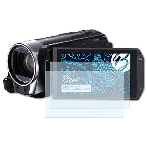 Bruni Canon Legria (Vixia) HF R306 Folie - 2 x glasklare Displayschutzfolie Schutzfolie für Canon Legria (Vixia) HF R306