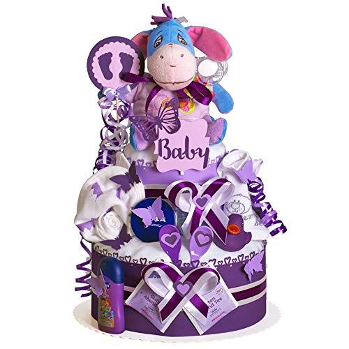 MomsStory - Windeltorte Junge | Esel I-Aah Winnie Pooh | Baby-Geschenk zur Geburt Taufe Babyshower | 2 Stöckig (Violett) mit Plüschtier Lätzchen Schnuller & mehr