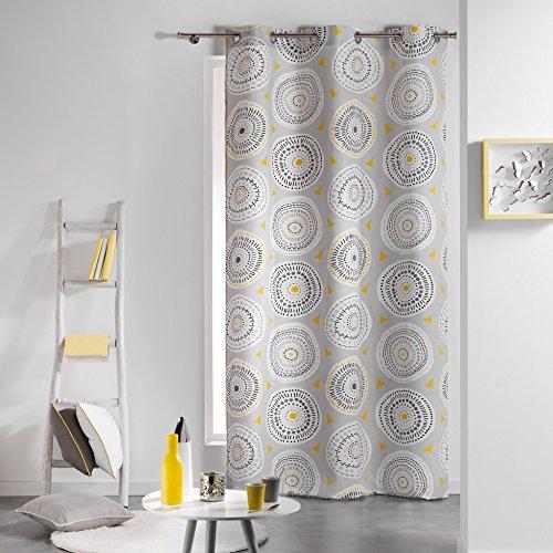 Coton d'interieur cotone di interno da discoteca tenda a occhielli, cotone, grigio/giallo, 140 x 240 cm