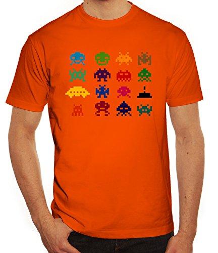 Nerd Herren T-Shirt mit Retro Pixels Motiv von ShirtStreet Orange