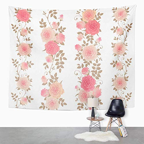 Tapisserie Wandbehang Wandteppich Hippie Pink Flower of Floral Patterns Branches Roses on Borders Climbing Red Leaf Tablecloth Tapestry with Art Nature Home Decor for Living Room Dorm Decor 150x200cm Red Rose Border