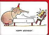 Geburtstagskarte witzig Elefant pustet Kerzen aus A6