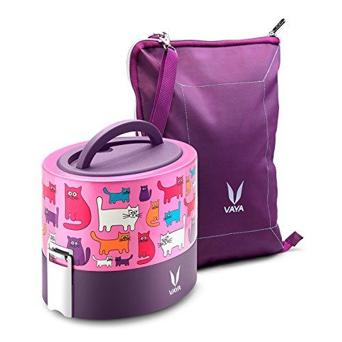 Vaya Tyffyn 600 ml isolierte Lunchbox mit Bagmat - Edelstahl auslaufsichere Lebensmittelbehälter - 100% BPA-frei, umweltfreundliche & wiederverwendbare Lunchbox für Erwachsene und Kinder. 600 ml - Erwachsenen-lunch-box Rosa