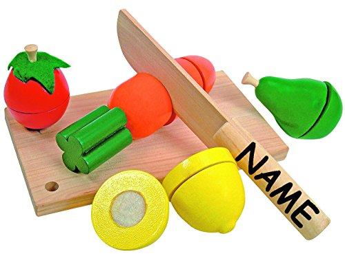 13 tlg. Set: Früchte / Obst & Gemüse - aus Holz - incl. Name - zum Schneiden - Schneideset Messer & Brett - Kaufmannsladen - für Kinder Holzfrüchte mit Klettverschluß - Zubehör Kaufladen - Holzobst - Küche Kochen - Schneidefrüchte