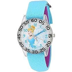 Disney Girl's 'Cinderella' Quartz Plastic and Nylon Automatic Watch, Color:Blue (Model: W002933)