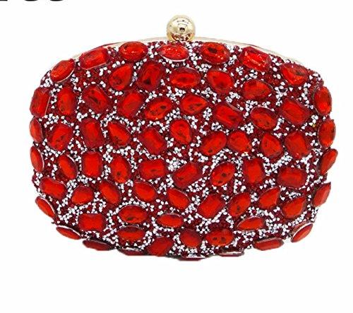 Nuove Signore Borse Signore Diamanti Borse Colore Strass Foratura A Caldo Borse Da Sera Mini Banchetto Borse Red