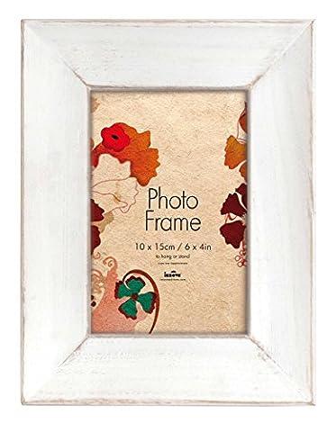 Innova Editions 15 x 10 cm en bois massif style rétro Multi Photos-Cadre Photo pour 4 Photos 10 x 15 cm Blanc, Bois dense, Retro White, 10x15cm/6x4