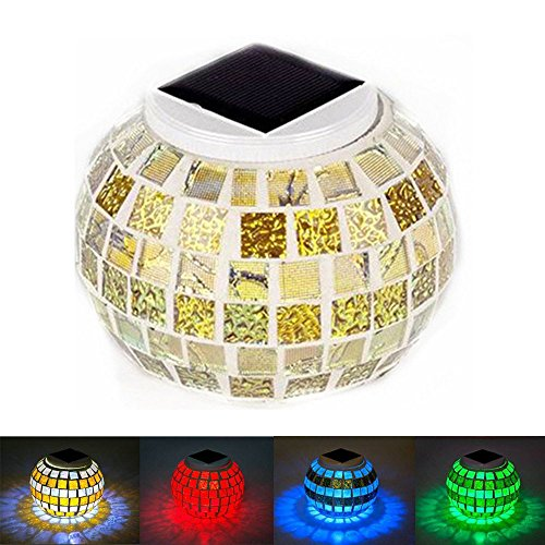 Gold-mosaik-tisch-lampe (yeaom-solar Glas Ball Tisch Licht Farbwechsel Solar Powered Mosaik Glas Tisch Lampen, wasserdicht Dekorative LED Nachtlicht für Weihnachten Home Schlafzimmer Yard Terrasse, ideal Geschenke gold)