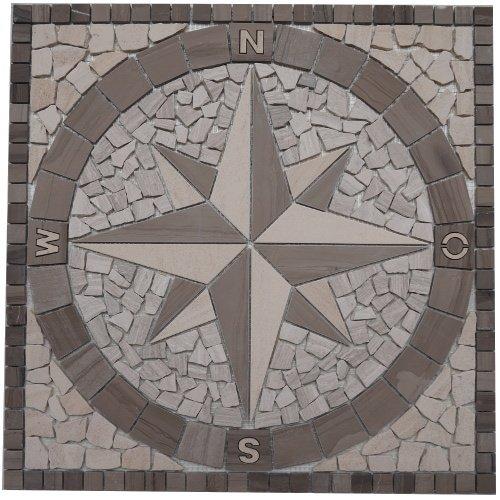 Marmor Rosone 60x60 cm Windrose Mosaik Einleger Creme Weiss Naturstein Fliesen 031