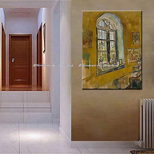 LIEFENGDA Ölgemälde Auf Canva,Vincent Van Gogh Gemälde St Remy Pflegeheim Fenster Ölgemälde Oncanvas Home Decoration Art Pictures,120X200Cm