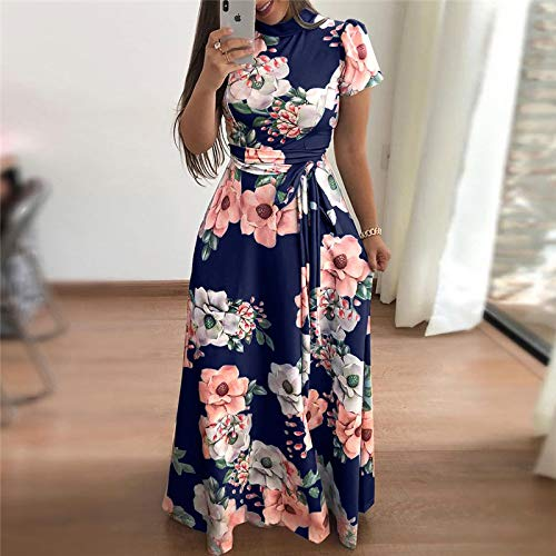 MIJIN Frauen Long Maxi Dress 2019 Boho Floral Print Summer Dress Casual Short Sleeve Turtleneck Bandage Bodycon Party Dress,C,XL Floral Turtleneck