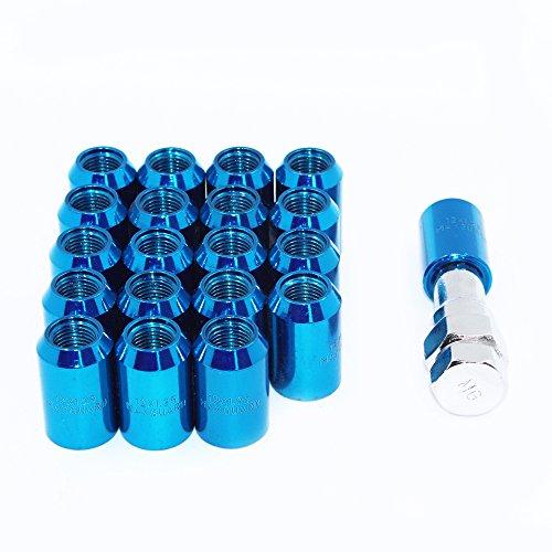 MODAUTO Steckschlüsselsatz für Radmuttern oder Spurverbreiterungen, mit Sechskant-Schraubenschlüssel, Gewinde M12 x 1,25 mm oder M12 x 1,50 mm, 20 Stück, F320ABL-Blau-12x1,25mm