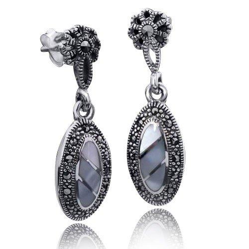 MATERIA vintage-Stil 925 de plata Marcasita pendientes Nácar - pendientes para mujer de largo #SO-100