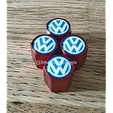 JJJ - Juego de 4 tapones para válvula de rueda para Volkswagen Polo Beetle Golf GTE Jetta Scirocco Touran Passat Tiguan E-UP Sharan Toureg, color azul y rojo