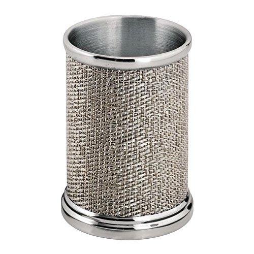 M-design mdesign portaspazzolino - ideale porta spazzolini in metallo - bicchiere portaspazzolino per riporre cosmetici, rasoi e pennelli per il make-up - argento