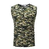 GreatestPAK T-Shirt Herren Ärmelloses Camouflage Weste Top,Armeegrün,L