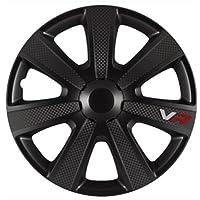AutoStyle - PP 5155B - Jeu d'enjoliveurs VR 15-inch noir/look-carboné/logo