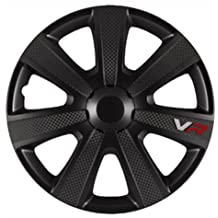 AutoStyle VR Negro   Set Vr Negro/Carbon Look/Logo - Tapacubos (4 unidades)