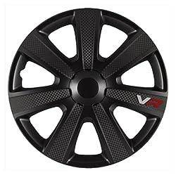 AutoStyle PP 5155B Radkappen Radzierblenden VR PRO Schwarz Carbon-Look 15