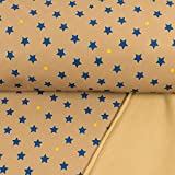 Softshell Stoff Blaue Sterne beige Kinderstoffe