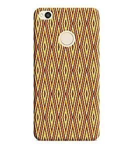 Printvisa Yellow Gold Check Pattern Designer Hard Back Case For Redmi 4