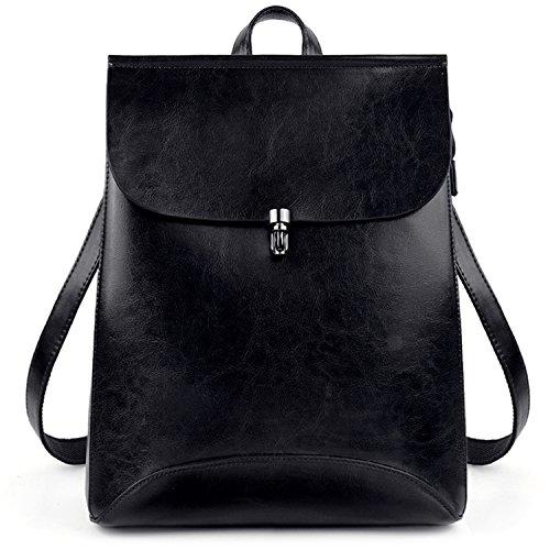 9d04a37be8c7 UTO Mujeres PU Leather Fashion Mochila Señoras Casual Daypacks Bolsa de  Hombro Bolsa de Escuela para Niñas Grande Negro