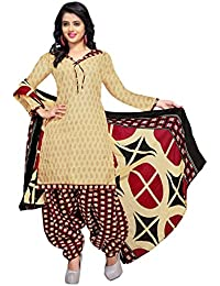 Rajnandini Women's Cotton Printed Dress Material(JOPLVSM3842_Beige_Free Size)