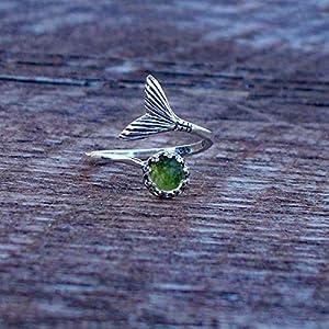 Bottled Up Designs Recycelte frühen 1900er Jahren Olive Green Weinflasche Mermaid Ring aus Sterling Silber