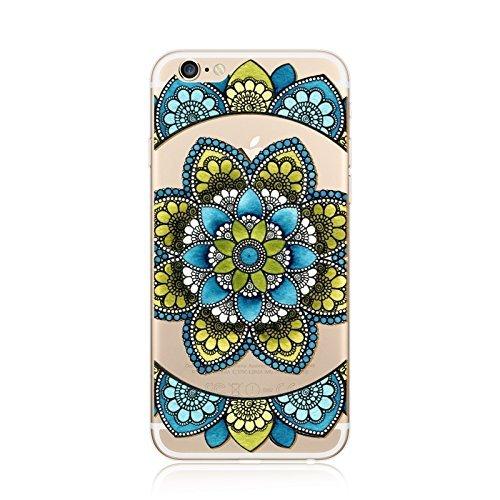 Coque iPhone 5 5s Housse étui-Case Transparent Liquid Crystal en TPU Silicone Clair,Protection Ultra Mince Premium,Coque Prime pour iPhone 5 5s-Mandala-New-style 17 1
