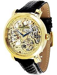 Lindberg & Sons SK14H062 - Reloj analogico de pulsera resistente al agua 5 ATM para hombre, cuerda manual y con correa de cuero negro, diseño esqueleto