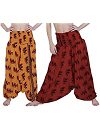 Printed Rajasthani Cotton Afghani Trouser Harem Pants (Combo Pack Of 2 Pcs) For Unisex With Elastic Waist Band