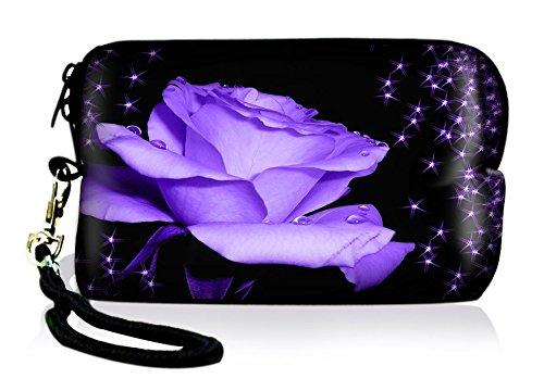 Silent Monsters Neopren Universal Kameratasche für Kompaktkameras - Design: Purple Rose