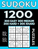 Sudoku Book 1,200 Puzzles, 300 Easy, 300 Medium, 300 Hard and 300 Extra Hard: Sudoku Puzzle Book With Four Levels of Difficulty To Improve Your Game: Volume 19 (Sudoku Book Series)