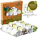 Tabalino  Traumhaft Weiche Bambus Mullwindeln Spucktücher für dein Baby  80x80cm  4er-Pack mit Schmusetuch  Mulltücher Junge Mädchen  grün  Stoffwindeln aus Musselin  Moltontücher Baumwolle