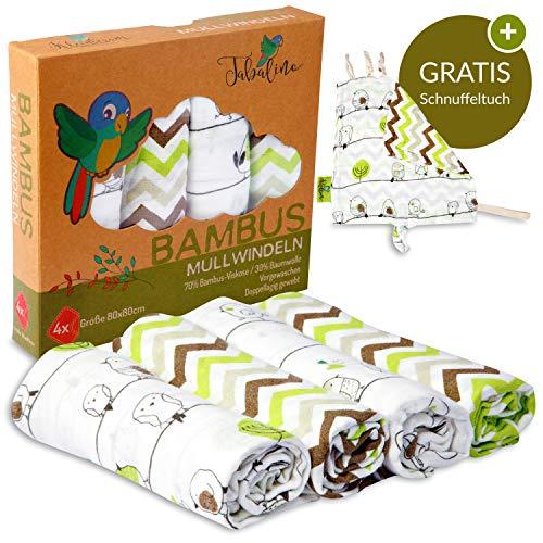 Tabalino ▪ Traumhaft Weiche Bambus Mullwindeln Spucktücher für dein Baby ▪ 80x80cm ▪ 4er-Pack mit Schmusetuch ▪ Mulltücher Junge Mädchen ▪ grün ▪ Stoffwindeln aus Musselin ▪ Moltontücher Baumwolle