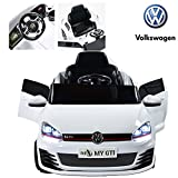 VOLKSWAGEN GOLF GTI OFFICIALLY LICENSED RIP X Battery Powered Electric Ride on Kids Car, DUAL Engine, 2,4 GHz Remote Control, 12 V Battery, SD Card Slot, Rechargeable Battery, Smooth Start (White)
