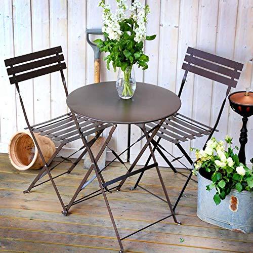 Lazy Susan Alessia Bistro Set - ANTIK BRONZE | Faltbarer Metalltisch mit 2 passenden Stühlen