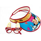 Ziggle Hood Cap With Minnie Character Printed Beautiful Gift For Girl. 1 Googles , Summer Cap, Sun Cap For Kids
