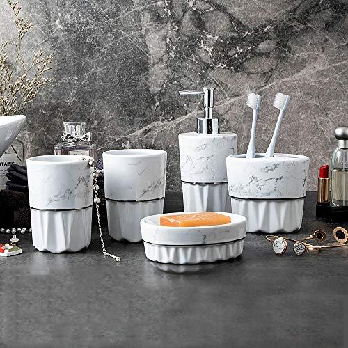 LOHOX Keramik 5-Stück Erstklassig Badezimmer Set Sammlung Marmormuster gesetzt Bad Accessoire Set Lotion-Flaschen, Zahnbürstenhalter, Zahn-Becher, Seifenschale - Sammlung 5 Stück Set