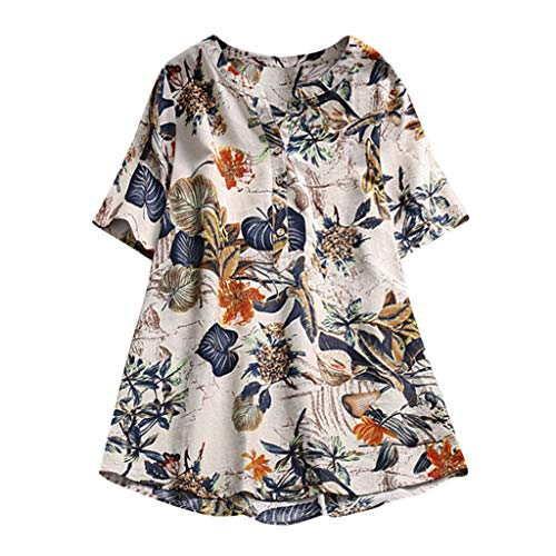 VEMOW Sommer Herbst Elegante Damen Frauen Floral Printed Langarm Beiläufig Täglichen Party Workout Tunika Swing Tops Shirt Bluse Hemd(X3-Orange, 54 DE / 4XL CN) -