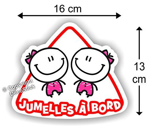 Jumelles à bord Fille / Fille - Sticker Autocollant Jumeaux bébé à bord modèle 2