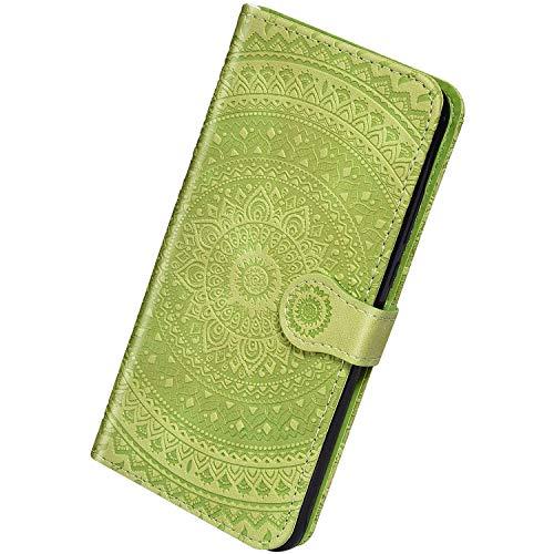 Herbests Kompatibel mit Xiaomi Redmi Note 7 Leder Hülle Schutzhülle Handyhüllen Vintage Sonnenblume Muster Flip Brieftasche Wallet Tasche Ständer Klapphülle Etui Case Magnetverschluss,Grün