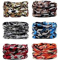 6 PCS Seamless Multifunctional Headwear Bandana Scarf Tube Elastic Headband UV Resistance Headwrap for Running Riding Hiking Yoga Sports