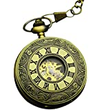Infinite U High-end Skeleton Movement Roman Numerals Big Mechanical Pocket Watch Bronze
